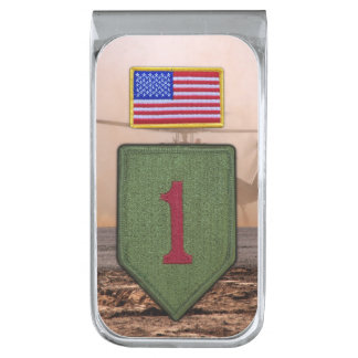 1st infantry big red 1 veterans vets patch silver finish money clip