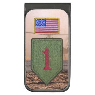 1st infantry big red 1 veterans vets patch gunmetal finish money clip