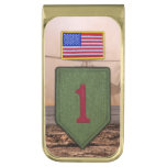 1st infantry big red 1 veterans vets patch gold finish money clip