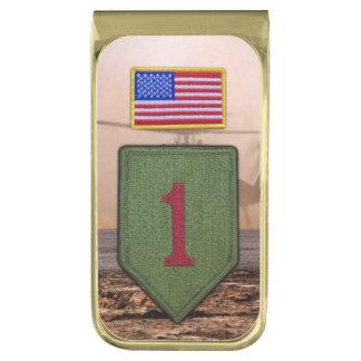 1st infantry big red 1 veterans vets patch gold finish money clip