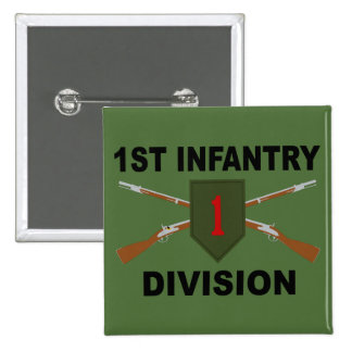 1st Infantry Division - Crossed Rifles - With Text Button