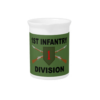 1st Infantry Division - Crossed Rifles - With Text Pitcher