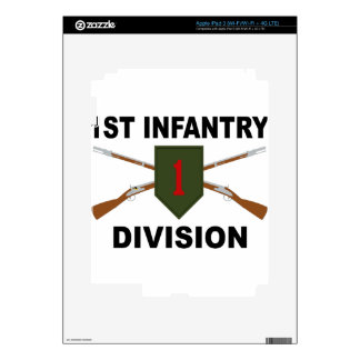 1st Infantry Division - Crossed Rifles - With Text Decal For iPad 3