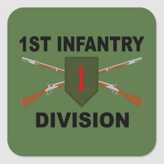1st Infantry Division - Crossed Rifles - With Text Square Sticker