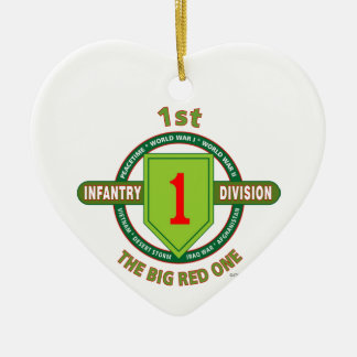 """1ST INFANTRY DIVISION """"THE BIG RED ONE"""" CERAMIC ORNAMENT"""