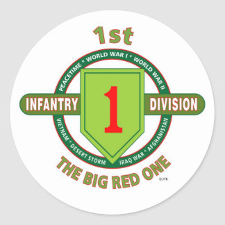 """1ST INFANTRY DIVISION """"THE BIG RED ONE"""" CLASSIC ROUND STICKER"""
