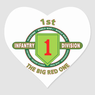 """1ST INFANTRY DIVISION """"THE BIG RED ONE"""" HEART STICKER"""