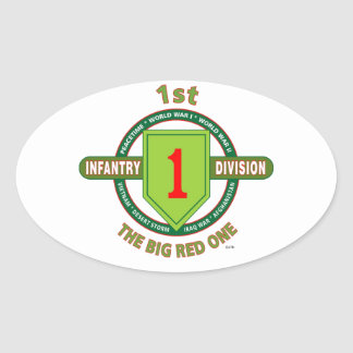 """1ST INFANTRY DIVISION """"THE BIG RED ONE"""" OVAL STICKER"""