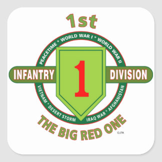"""1ST INFANTRY DIVISION """"THE BIG RED ONE"""" SQUARE STICKER"""