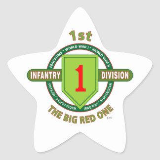 """1ST INFANTRY DIVISION """"THE BIG RED ONE"""" STAR STICKER"""