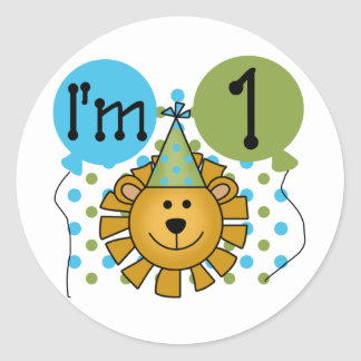 1st Lion Birthday Tshirts and Gifts Round Stickers