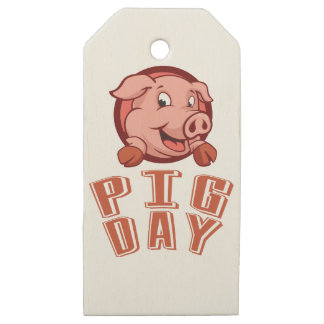 1st March - Pig Day Wooden Gift Tags