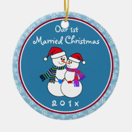 1st Married Christmas Fun Snow Couple Christmas Ceramic Ornament