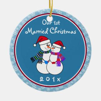 1st Married Christmas Fun Snow Couple Christmas Ceramic Ornament