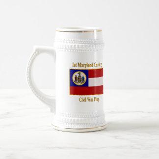 1st Maryland Cavalry Civil War Flag 18 Oz Beer Stein