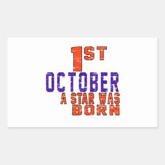 1st October a star was born Rectangular Sticker