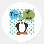 1st Penguin Birthday Round Stickers