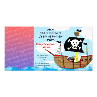 1st pirate birthday boy party invitations customized photo card