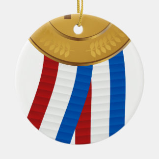 1st Place Gold Medal Double-Sided Ceramic Round Christmas Ornament