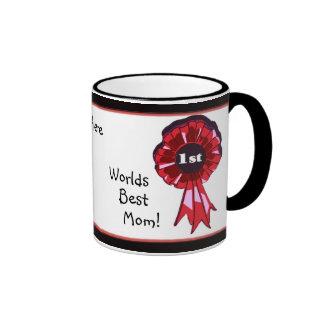 *1st Place Ribbon Black Shadow Worlds Best Mom Ringer Mug
