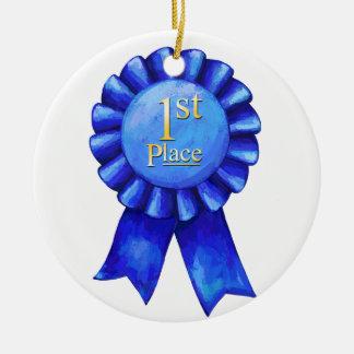 1st Place Ribbon Medallion Ceramic Ornament