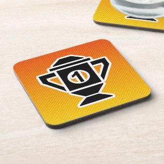 1st Place Trophy; Yellow Orange Beverage Coaster