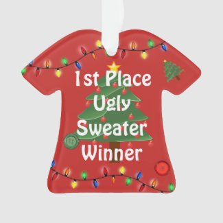 1st Place Ugly Christmas Sweater Contest Ornament