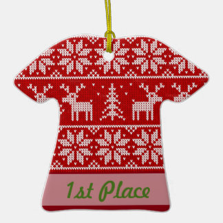 1st Place Ugly Sweater Party Contest Winner Double-Sided T-Shirt Ceramic Christmas Ornament