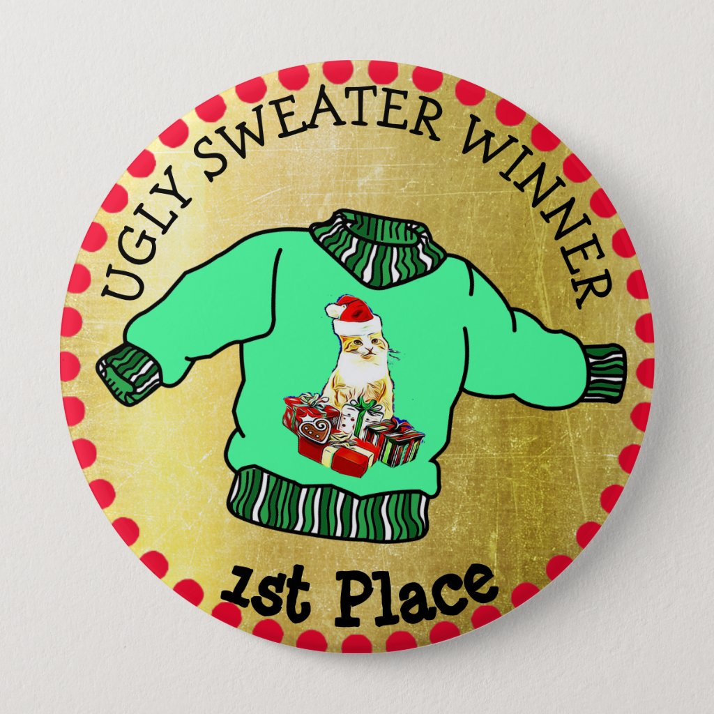 1st Place Ugly Sweater Winner Christmas Gold Medal Button