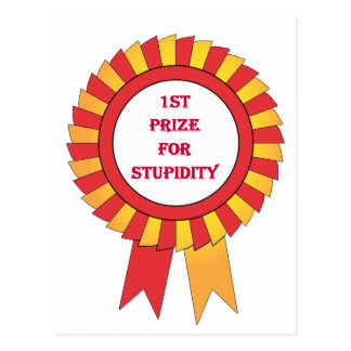 1st prize for stupidity postcard