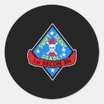 1St Recon Bn Black Classic Round Sticker