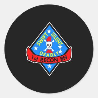 1St Recon Bn Black Round Sticker