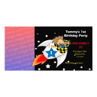 1st rocket birthday boy party invitations