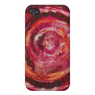 1st-Root Chakra Red Spiral Paint-Fabric #2 iPhone 4/4S Case