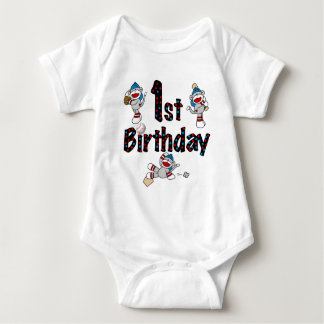 1st Sock Monkey Baseball Birthday Baby Bodysuit