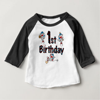 1st Sock Monkey Baseball Birthday Baby T-Shirt