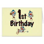 1st Sock Monkey Baseball Birthday Card