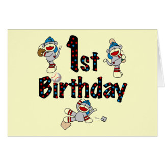 1st Sock Monkey Baseball Birthday Card