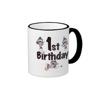 1st Sock Monkey Baseball Birthday Coffee Mugs