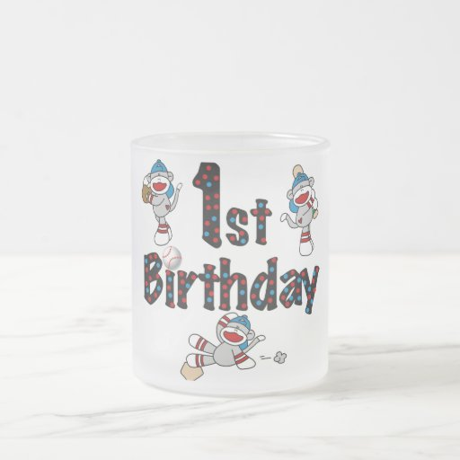 1st Sock Monkey Baseball Birthday Mugs