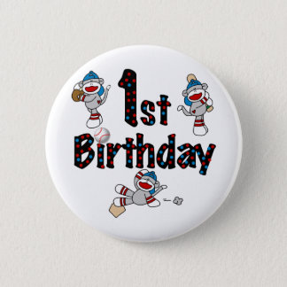 1st Sock Monkey Baseball Birthday Pinback Button