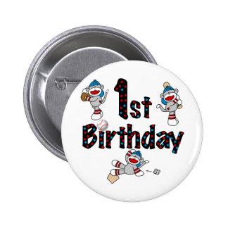 1st Sock Monkey Baseball Birthday Pinback Button