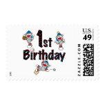 1st Sock Monkey Baseball Birthday Postage