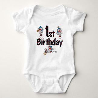 1st Sock Monkey Baseball Birthday T-shirts