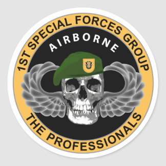 1st Special Forces Group Skull Classic Round Sticker