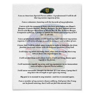 1st special forces group veterans vets creed print