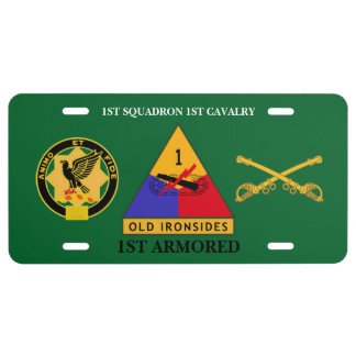 1ST SQDN 1ST CAVALRY 1ST ARMORED LICENSE PLATE