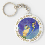 1ST STAR ON YOUR RIGHT, STRAIGHT ON UNTIL MORNING BASIC ROUND BUTTON KEYCHAIN