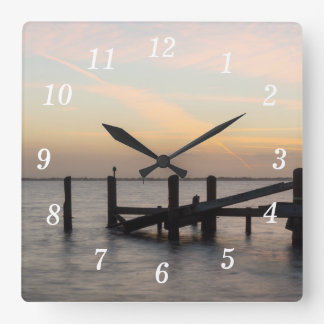 1st Sunset 2017 Cocoa Beach Square Wall Clock