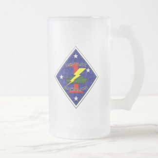 1st Tank Battalion - 1st Marine Division Glass Beer Mug